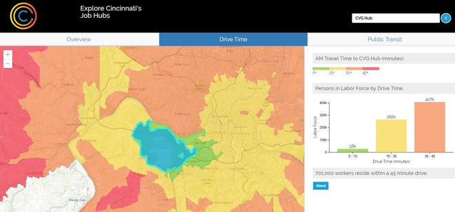 A screenshot of the new job hubs map