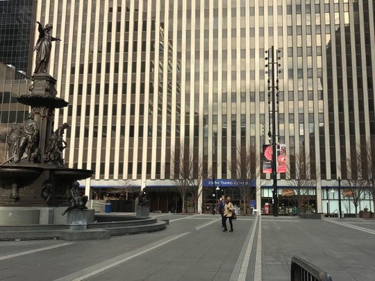 Fifth Third Bank's downtown headquarters behind the Tyler Davidson Fountain on Fountain Square in Cincinnati.