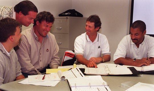 The Cincinnati Bengals' defensive staff left to right, Sigismondo Cioffi, defensive assistant, Mark Duffner, line back coach, Tim Krumrie, defensive line, Dick LeBeau asst. head coach/ defensive coed. and Ray Horton def. backs during a staff meeting at Spinney Field.