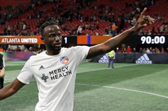 Mar 10, 2019; Atlanta, GA, USA; FC Cincinnati forward Roland Lamah (7) reacts following the 1-1 draw against the Atlanta United at Mercedes-Benz Stadium.
