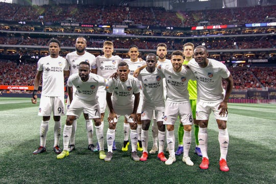 Mar 10, 2019; Atlanta, GA, USA; FC Cincinnati poses for a team photo against Atlanta United in the first half at Mercedes-Benz Stadium.