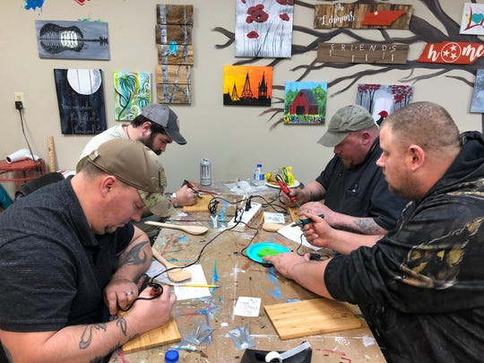 As part of the Tennessee Arts Commission Arts and Military grant, Arts for Hearts offered a wood burning class that filled so quickly they have added two additional classes with a waiting list.