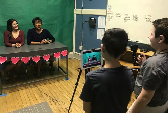 Students recorded meteorologists Andrea Romero of Telemundo 47 and Janice Huff of News 4 New York delivering a special message for the School No. 8 news show.
