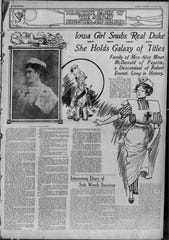 Story about Alice Miner McDonald in July 20, 1913, Des Moines Register.