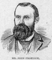 The Waterloo Courier of August 4, 1893 featured a story on John Froelich and his tractor. This engraving of Froelich ran with that story.