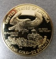 Urbandale police have as evidence a counterfeit $50 coin used to make a purchase at an Urbandale gas station in February 2019. Photo provided by the Urbandale Police Department.