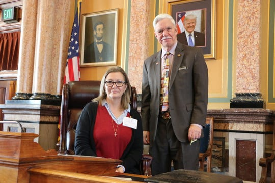 State Rep. Stan Gustafson met with Jennifer Lohner of Norwalk, from the Hospice and Palliative Care Association of Iowa, at the Capitol last week.