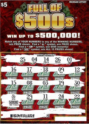 Full of $500s instant game from the Michigan Lottery. The cost is $5.