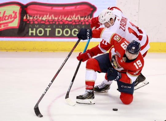 Florida Panthers defenseman Mike Matheson (19) and Detroit Red Wings right wing Filip Zadina (11) battle for the puck during the third period of an NHL hockey game, Sunday, March 10, 2019, in Sunrise, Fla.