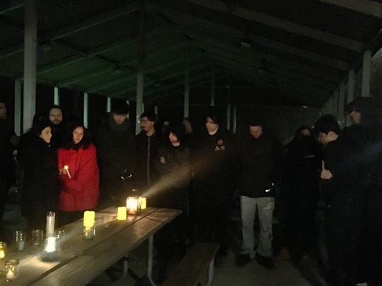 Friends gather at Ford Field Park in Dearborn Sunday night to remember Ahmed Altaii who was killed when he fell off a seventh-floor hotel balcony while on spring break in Cancun, ,Mexico.