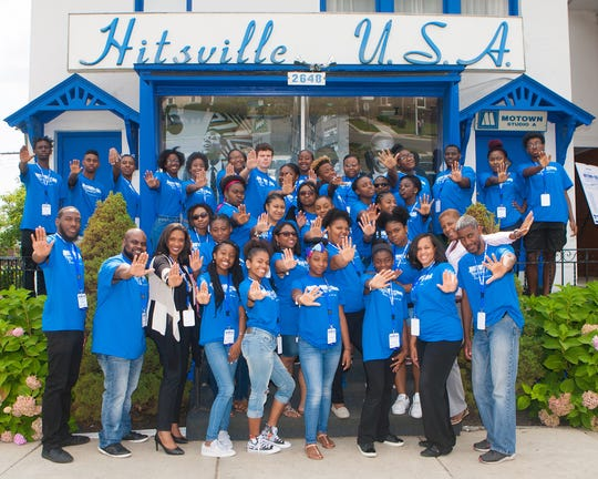 Motown Museum CEO Robin Terry (front row, third from left) with members of the Ignite Summer Camp.