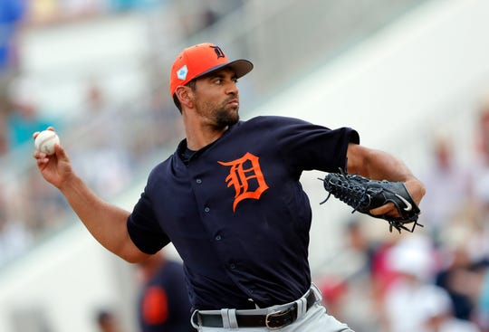 Tigers starting pitcher Tyson Ross works against the Twins in the second inning of a spring training baseball game Monday, March 11, 2019, in Fort Myers, Fla.