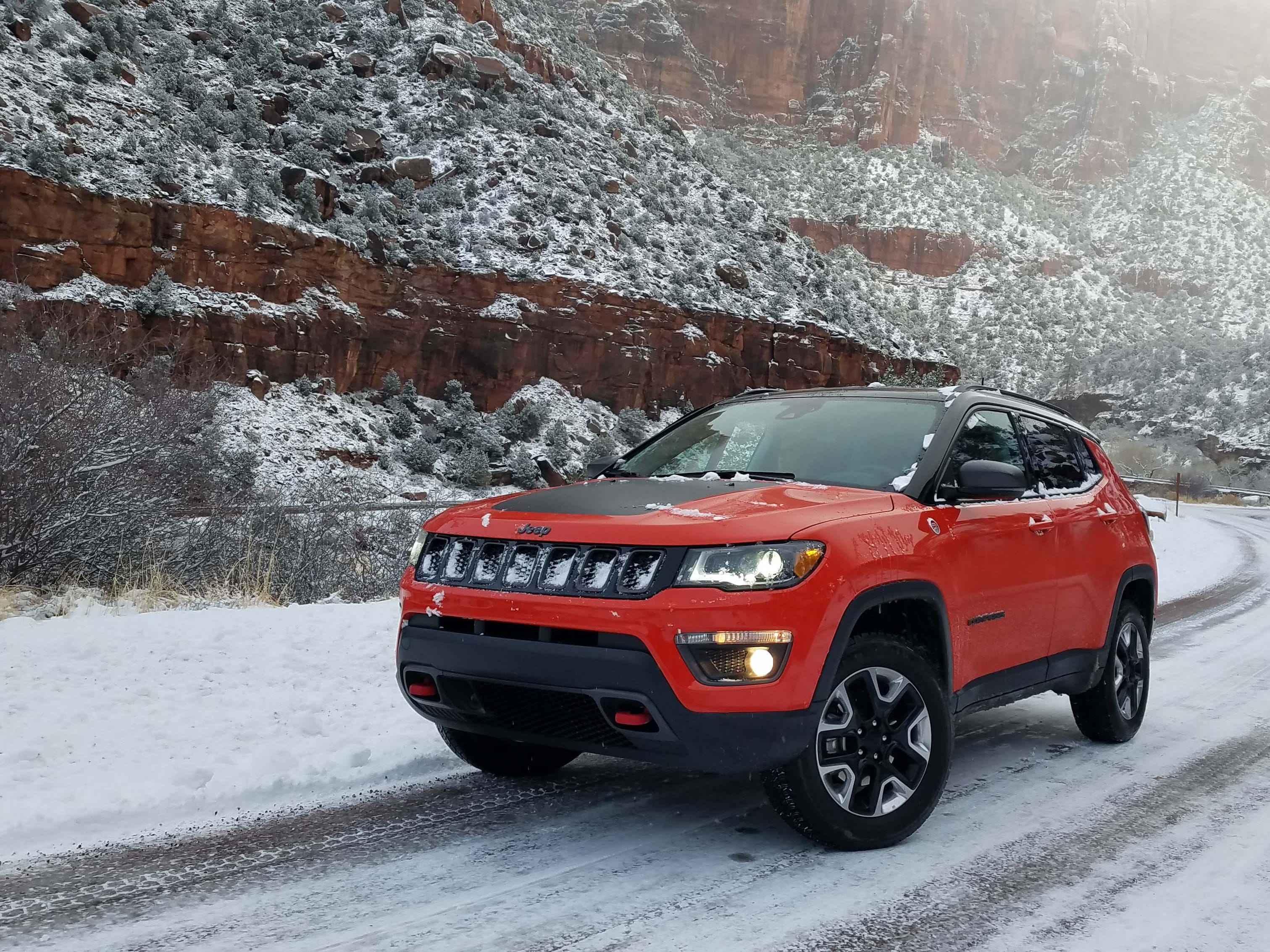 Jeep country: On icy, uphill Route 9 though the Zion Canyon pass, the Jeep Compass Trailhawk never put a foot wrong.