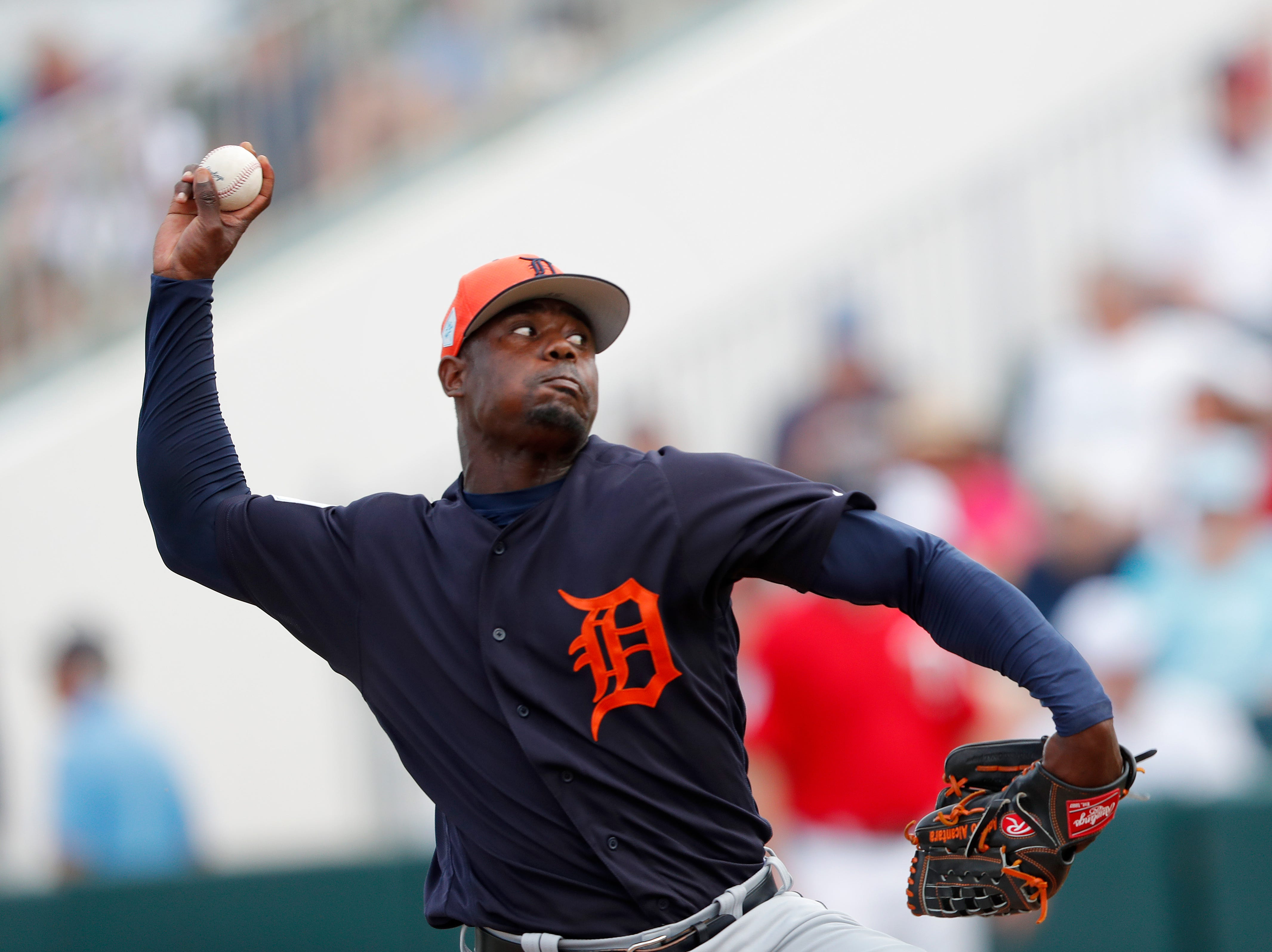 Detroit Tigers relief pitcher Victor Alcantara (58) works against the Minnesota Twins during a spring training baseball game Monday, March 11, 2019, in Fort Myers, Fla.