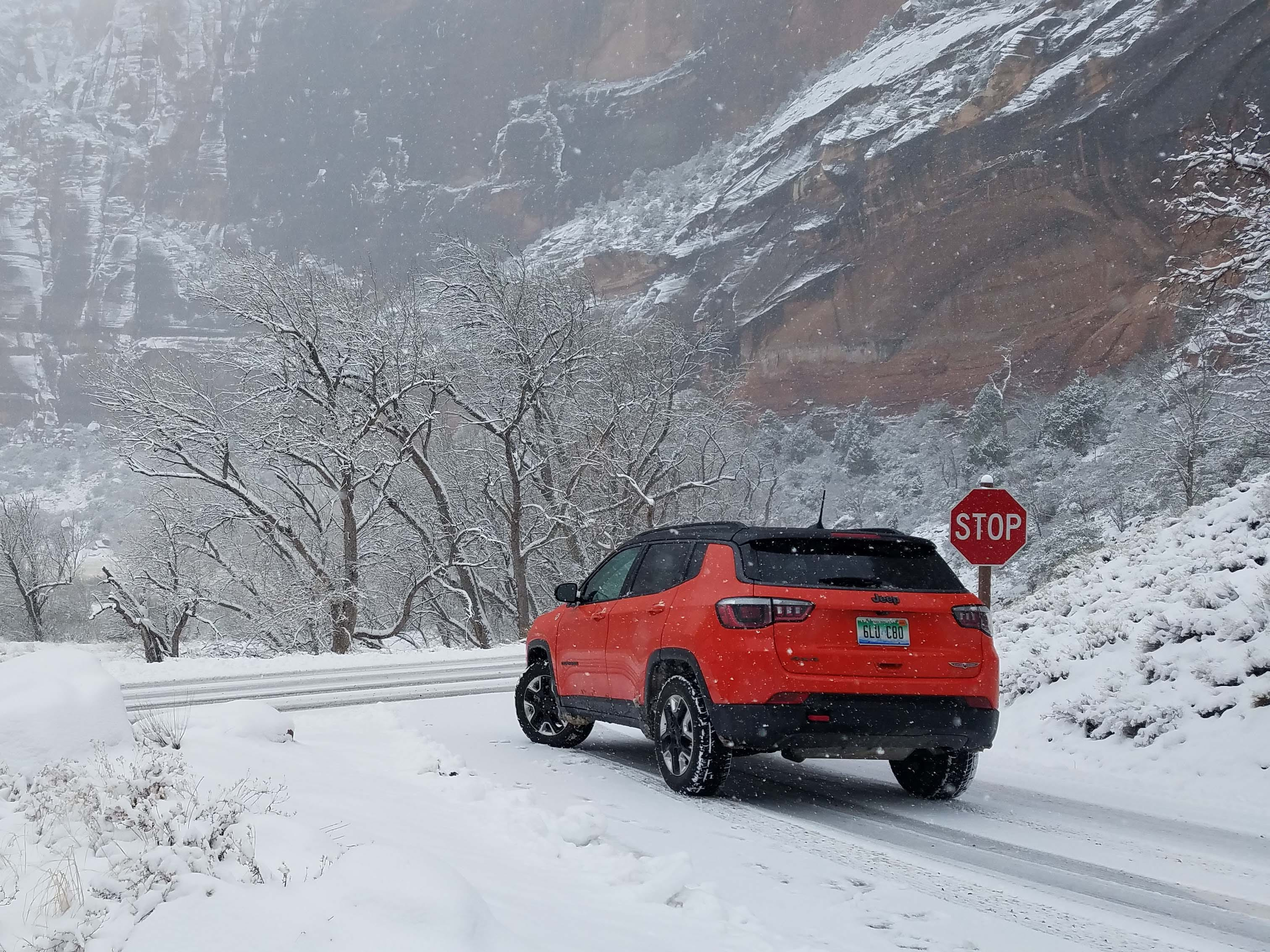 Stop and enjoy the view. The Jeep Compass Trailhawk at the bottom of Zion Canyon in winter.