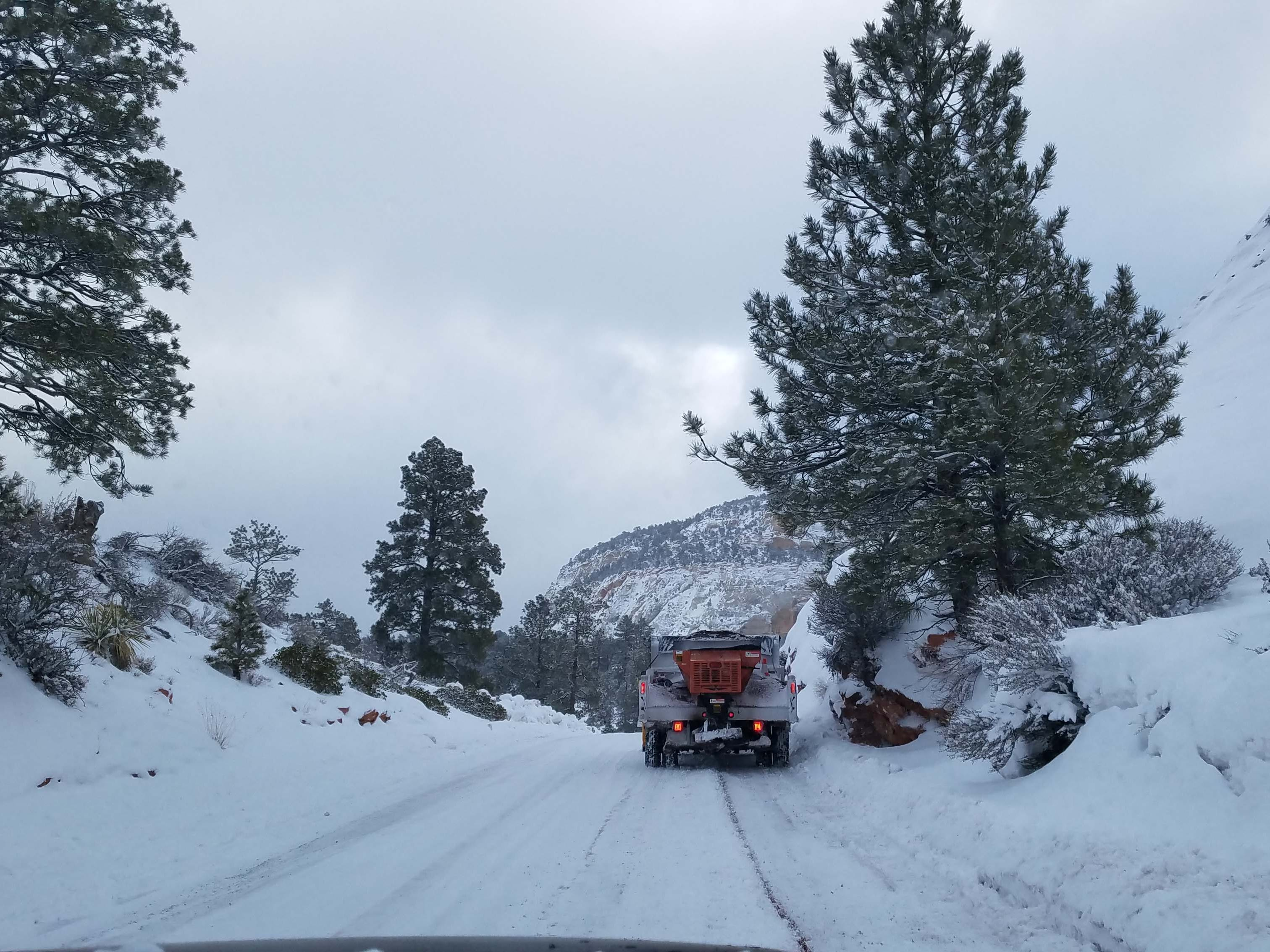 "Where snowplows and Jeeps go. Detroit New auto critic Henry Payne asked the snowplow driver if the snowy Zion pass was passable. ""No problem, you've got a Jeep,"" came the reply."
