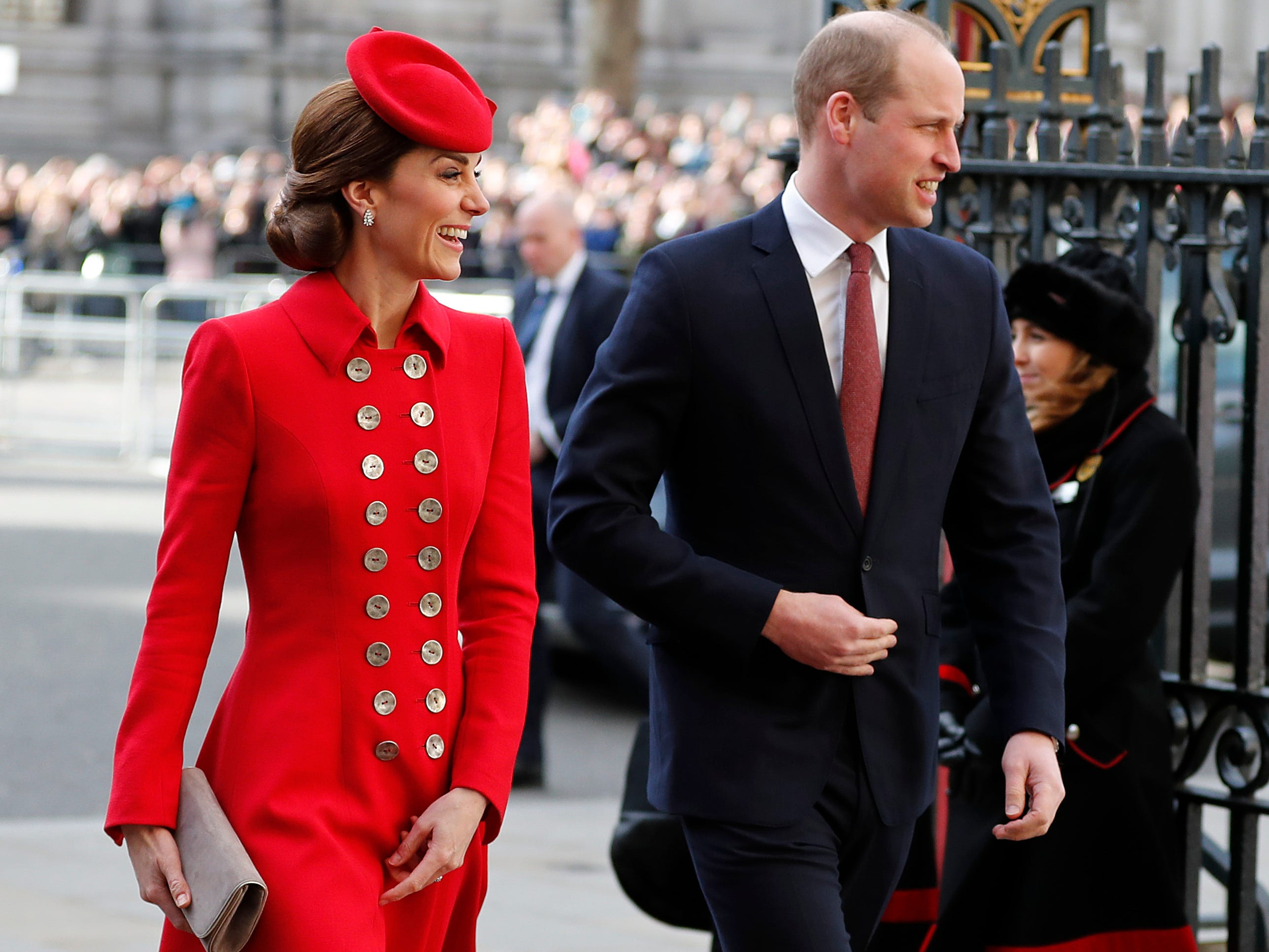 Britain's Kate, the Duchess of Cambridge and Britain's Prince William arrive to attend the Commonwealth Service at Westminster Abbey on Commonwealth Day in London, Monday, March 11, 2019. Commonwealth Day has a special significance this year, as 2019 marks the 70th anniversary of the modern Commonwealth - a global network of 53 countries and almost 2.4 billion people, a third of the world's population, of whom 60 percent are under 30 years old.