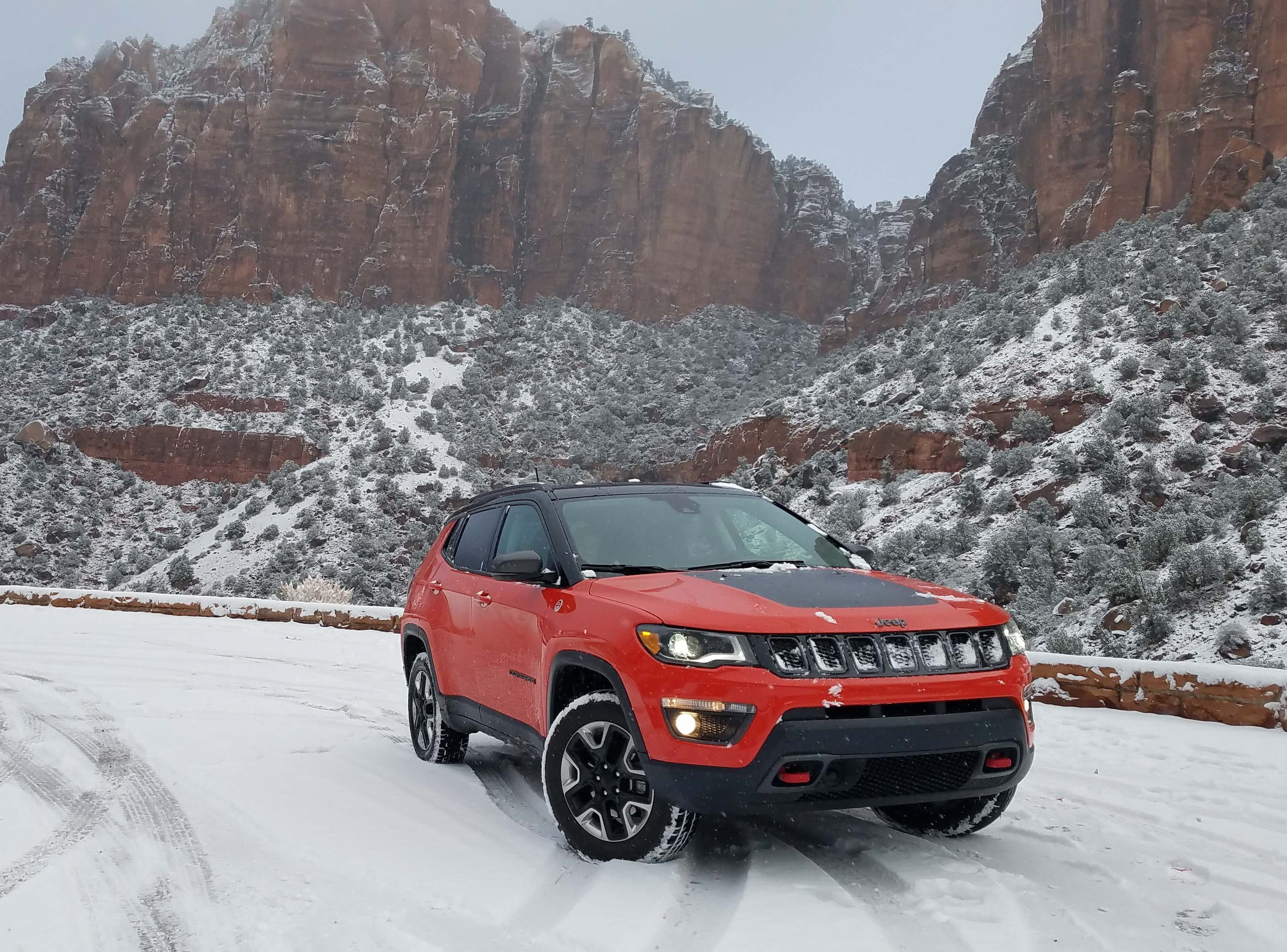 Stunning views — if you can get there. The Jeep Compass Trailhawk churns through icy, snowy, cold Zion Canyon in the teeth of Utah winter.