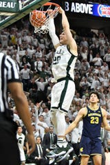 Michigan State senior guard Matt McQuaid made his final game at Breslin Center count, with nine points in Saturday's win over Michigan.