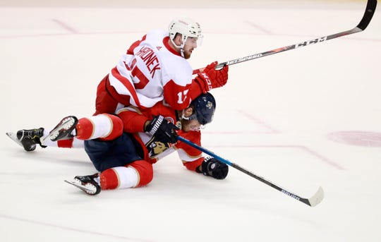 Red Wings defenseman Filip Hronek (17) and Panthers left wing Mike Hoffman battle for the puck during the second period Sunday in Sunrise, Fla.