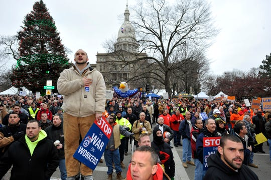 Republican former Gov. Rick Snyder signed the right-to-work law in late 2012, a once unthinkable move in a union-heavy state known as the birthplace of the modern labor movement.