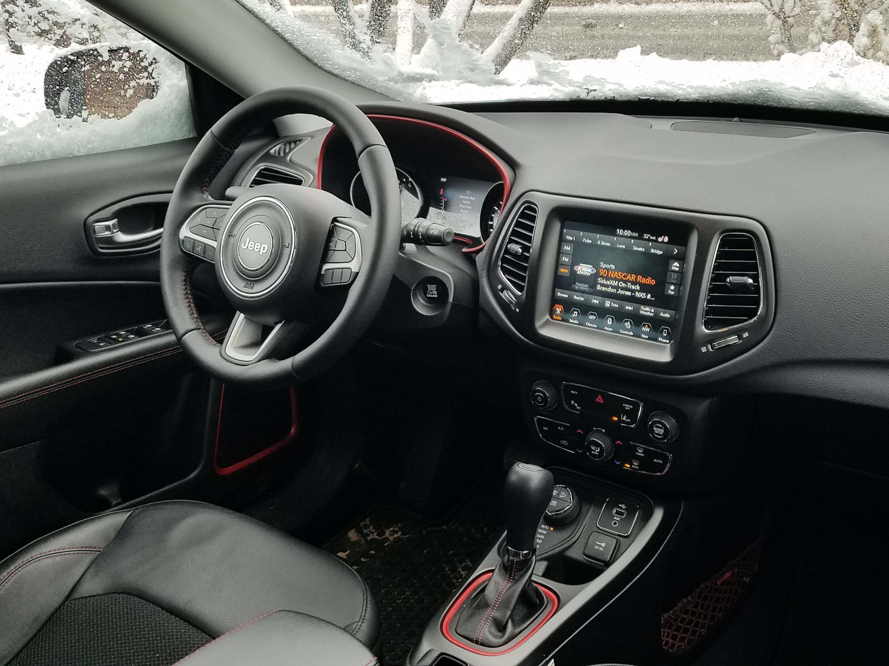 The Jeep Compass Trailhawk comes with a typically handsome FCA interior that includes smartphone app connectivity for navigation, UConnect infotainment and mode select. Console space could be better.