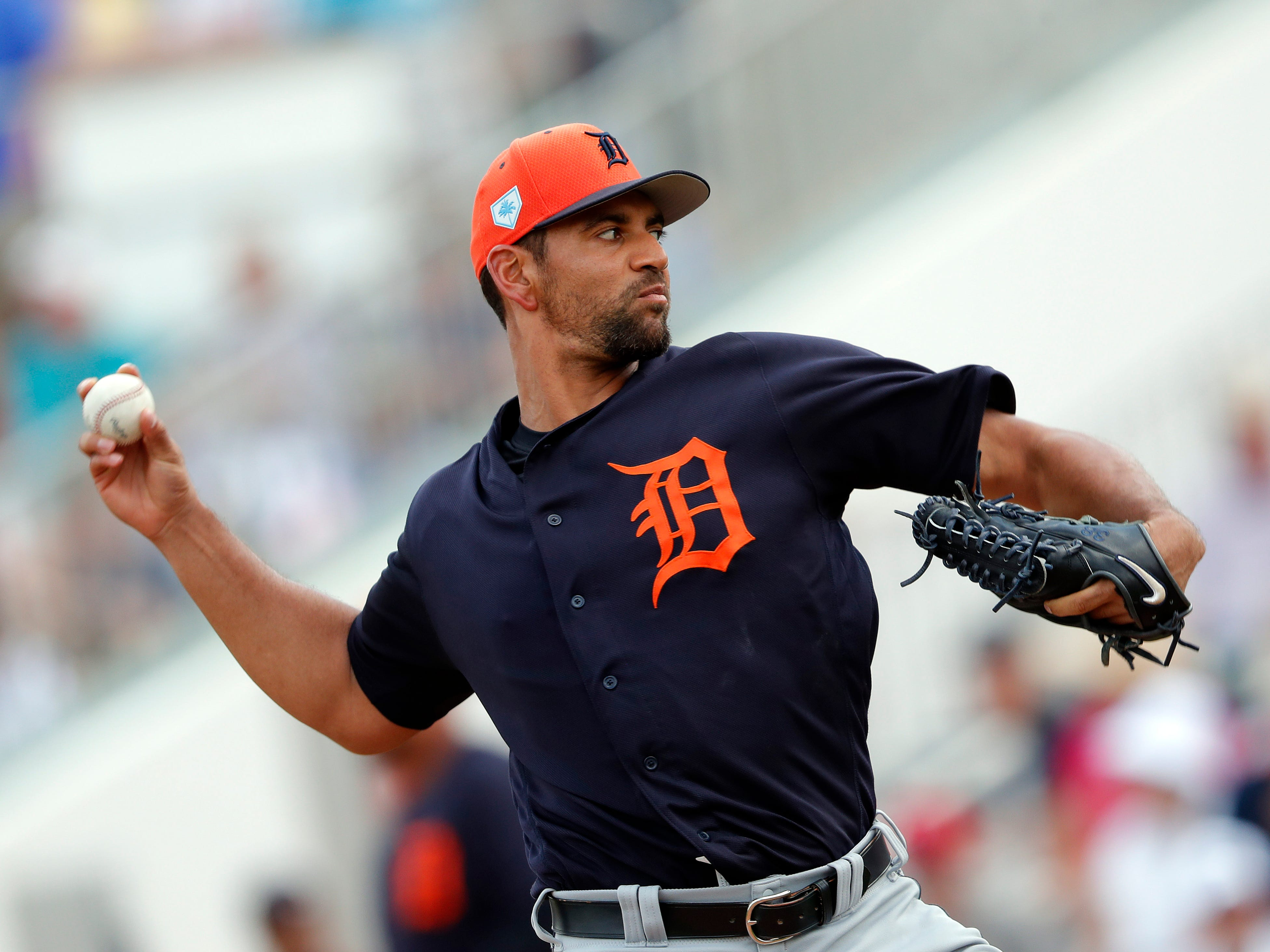 Detroit Tigers starting pitcher Tyson Ross works against the Minnesota Twins in the second inning of a 3-0 Detroit victory during a spring training baseball game Monday, March 11, 2019, in Fort Myers, Fla.