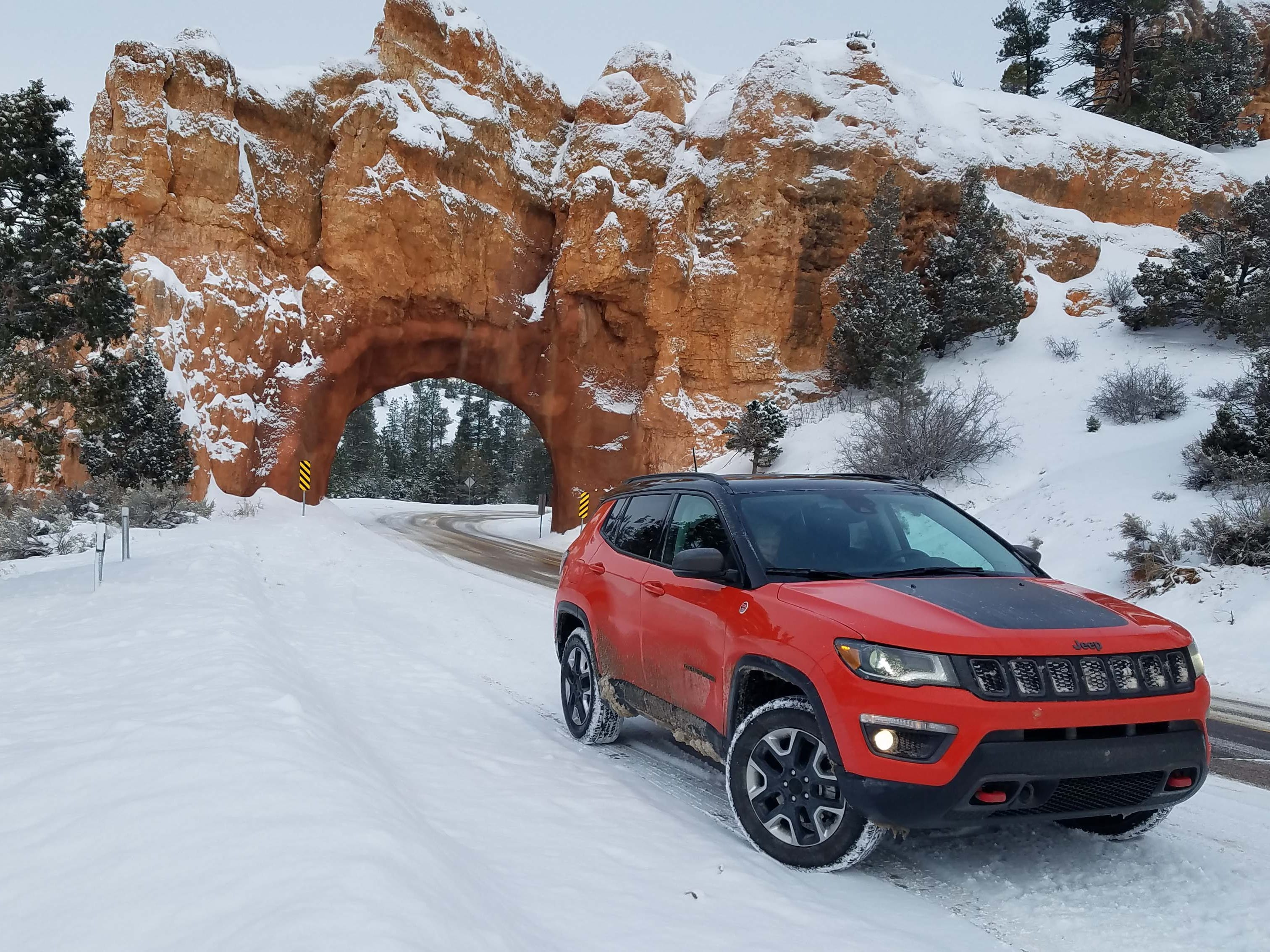 Miles from anywhere, the Jeep Compass Trailhawk soldiers through Bryce Canyon, Utah. The Compass was introduced in 2017 and slots between the Renegade and Cherokee in Jeep lineup.