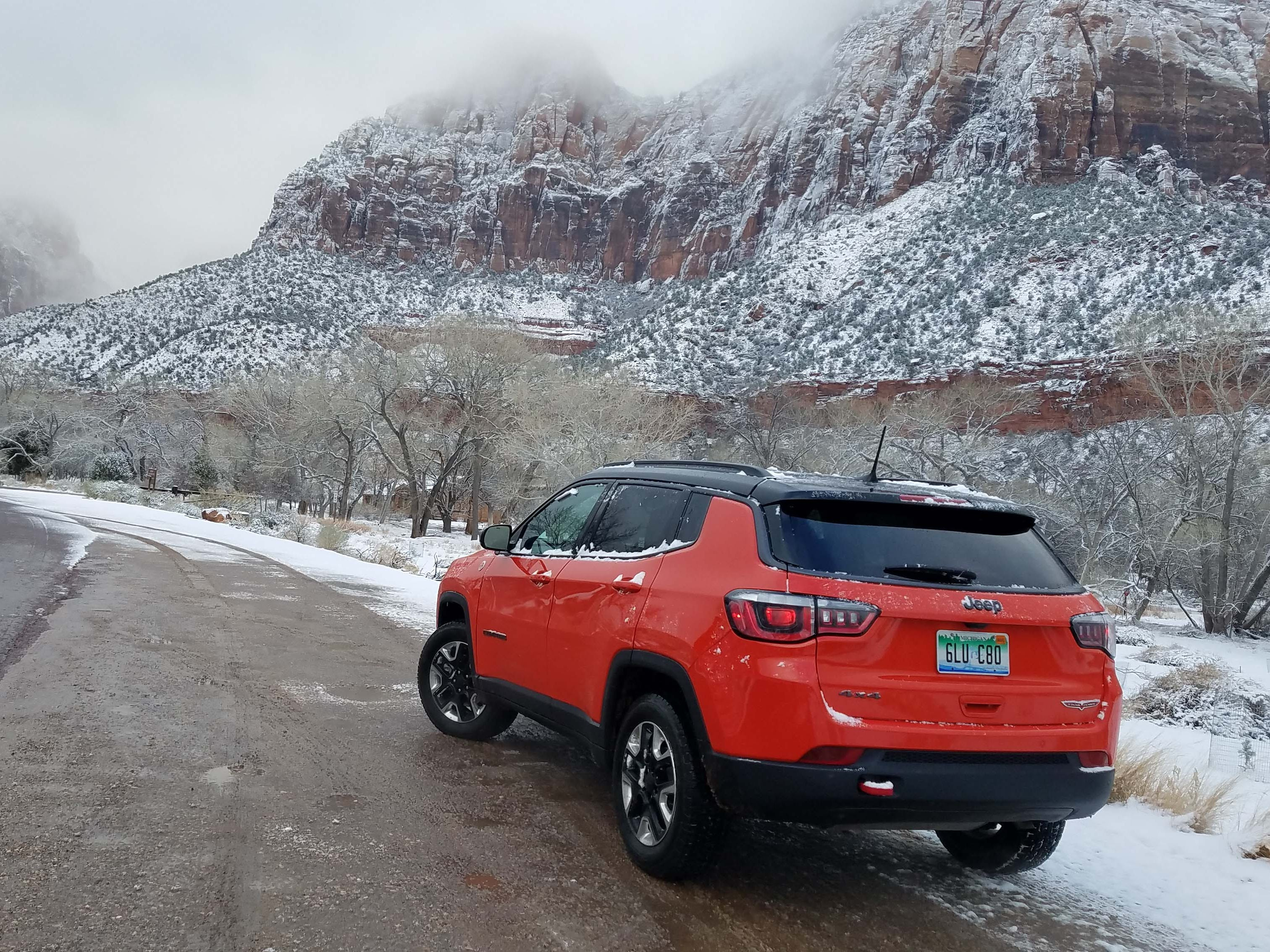 Have Jeep, will travel. The Jeep Compass Trailhawk enters Zion Canyon in the teeth of winter.