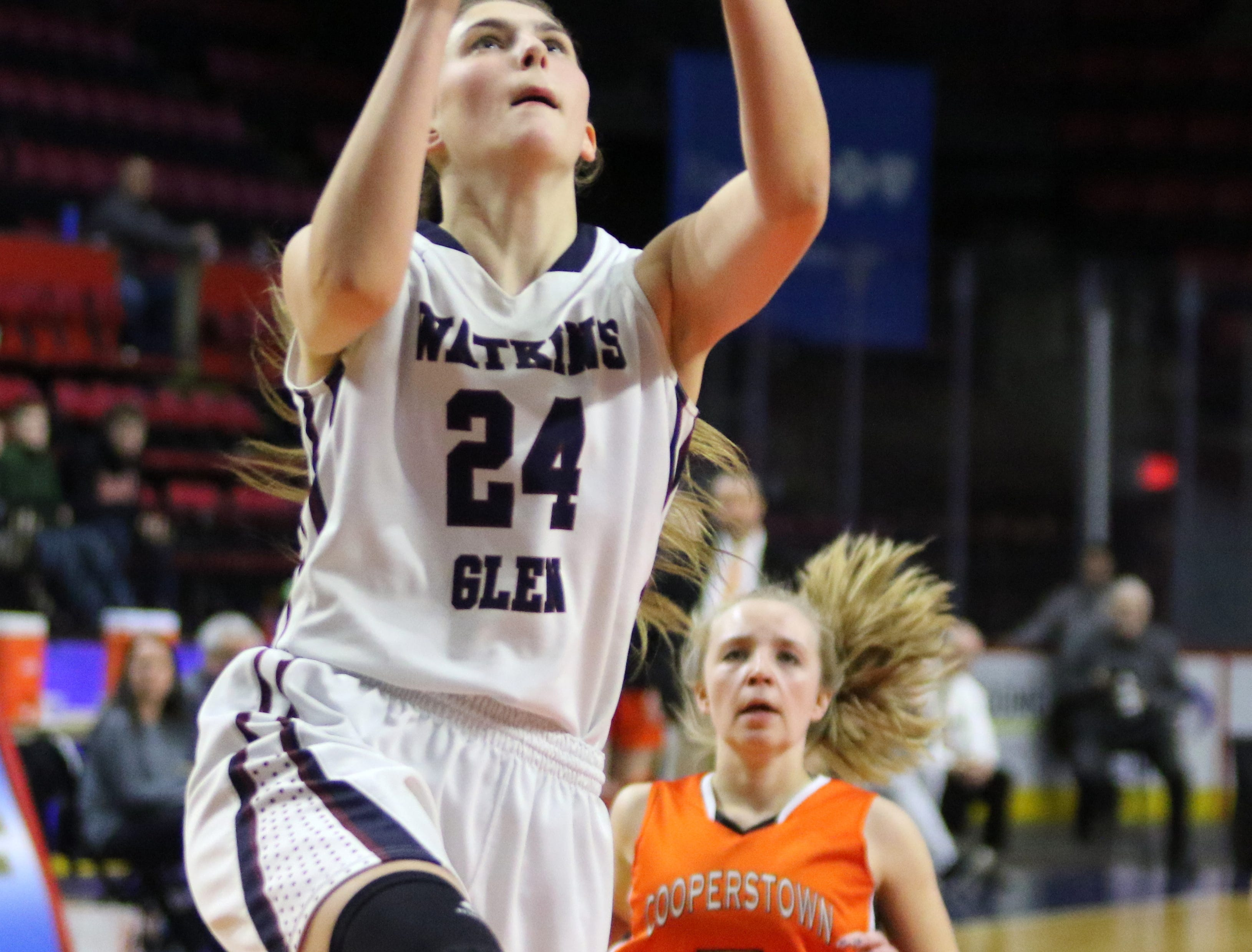 Watkins Glen was a 60-49 winner over Cooperstown in a Class C girls basketball state quarterfinal March 10, 2019 at Floyd L. Maines Veterans Memorial Arena in Binghamton.