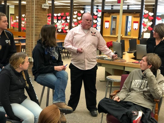 Rick Yarosh, who was badly burned while serving in Iraq, was the HOPE ambassador at a Sweethearts and Heroes anti-bullying assembly at Spencer-Van Etten High School last week.