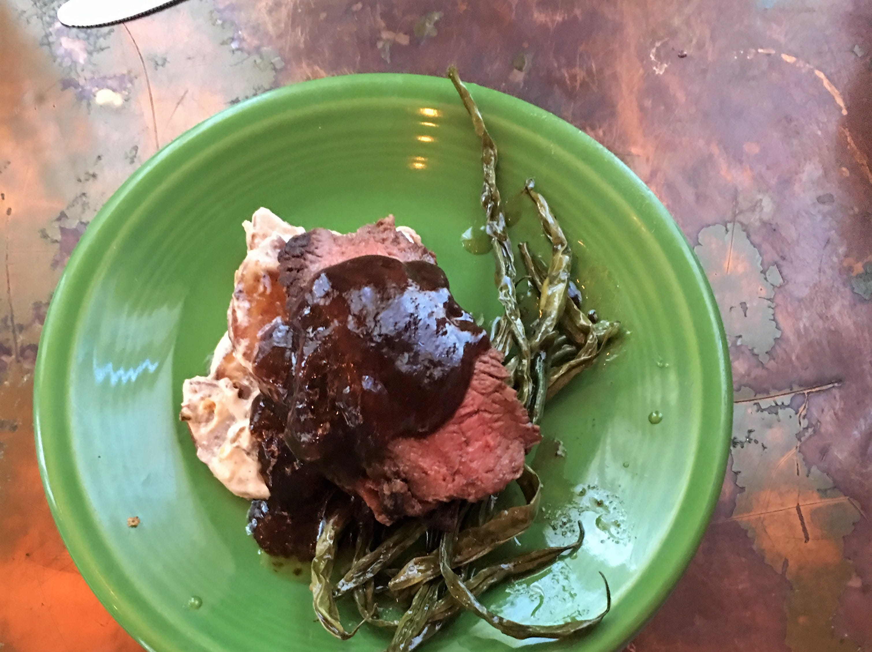 Creamy potatoes, sirloin roast, chocolate sauce and green beans from the Dapper Pig on an Evansville Culinary Tour.