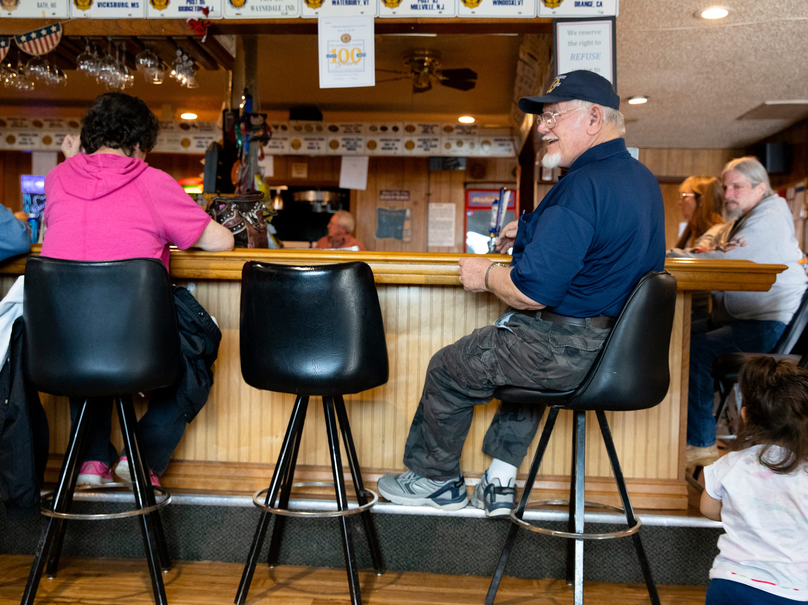 Post Commander Dwight Miles sits at the bar during Sunday afternoon bingo at the George Beach Post No. 4 of the American Legion on March 10.