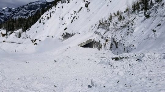 A  Colorado Department of Transportation-triggered avalanche Sunday buried an avalanche shelter on U.S. Highway  550 between Ouray and Silverton and covered the highway with 60 inches of snow.
