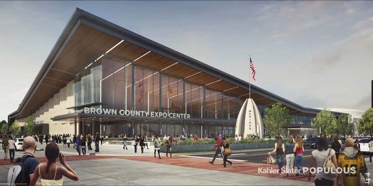 A rendering of the new Brown County Expo Center  looking north from the intersection of Armed Forces Drive and Oneida Street.
