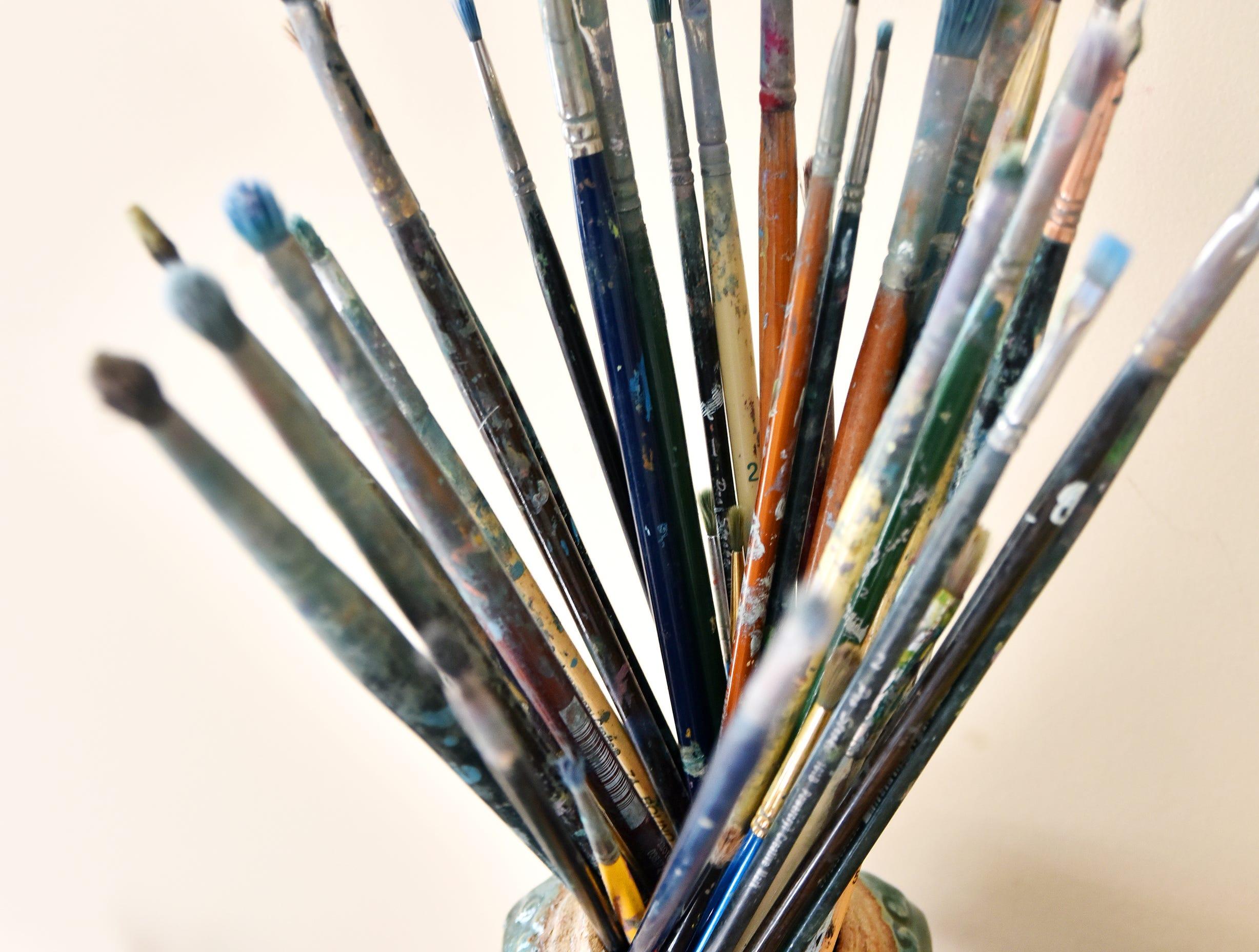 Paintbrushes used by artist Tatyana Grechina