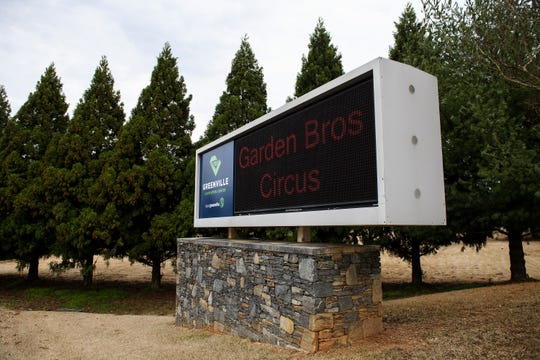 Garden Bros. Circus is displayed on a sign outside of the Greenville Convention Center Monday, March 11, 2019. The circus will be the last show hosted at the convention center to feature live animals.