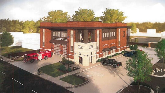 A rendering of the new Augusta Road fire station that will be built behind the current one at the intersection with East Faris Road.
