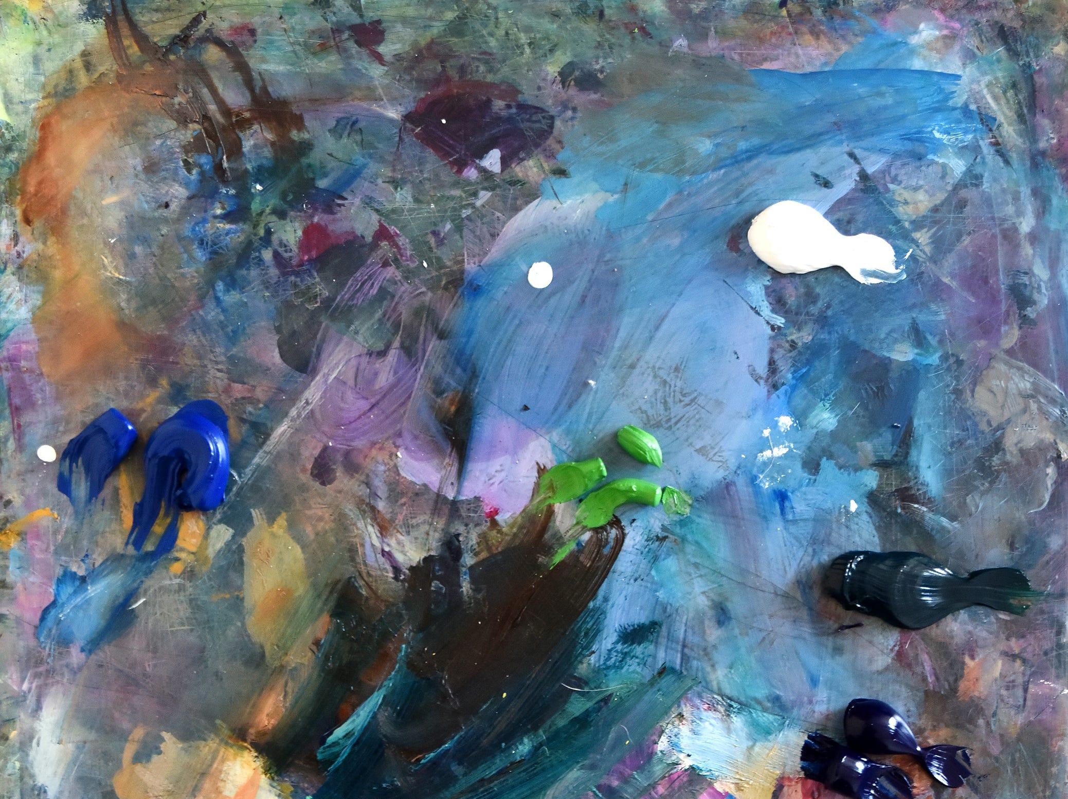 A palette used by artist Tatyana Grechina
