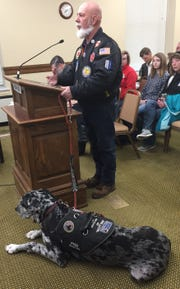 William Austin speaks Monday to the House Judiciary Committee about House Bill 439, which deals with service animals.