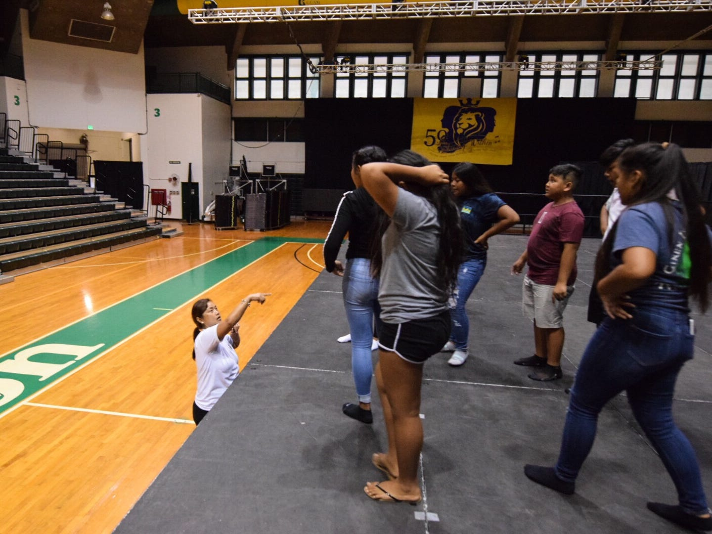 Cultural dancers from Tinian Jr./Sr. High School rehearse for their CHamoru Language Competition performance in the upcoming 51st University of Guam Charter Day at the UOG Calvo Field House, March 11, 2019.