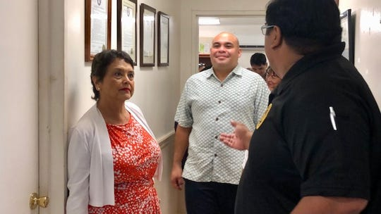 Gov. Lou Leon Guerrero and Lt. Gov. Josh Tenorio on Monday get a briefing from Department of Youth Affairs Superintendent David T. Afaisen Jr. on Monday prior to a tour of DYA facilities. The governor and lieutenant governor later said they agree with the transition committee's recommendation to abolish and consolidate some boards and commissions, while reactivating some such as the Guam Ethics Commission.