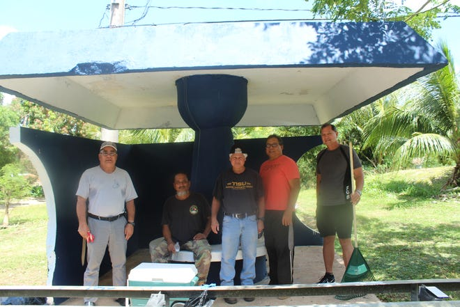 Members of the Guam U.S. Air Force Veterans Association completed their bus stop adoption project in Agat. Pictured from left: Ret. CCMSgt Frank Mendiola, Ret. MSgt Joe Leon Guerrero, Ret. CCMSgt Rick Diaz, Ret. MSgt Ray Salas, and Ret. CMSgt Joe Guerrero. Not pictured is Ret. CMSgt Bill Cundiff.
