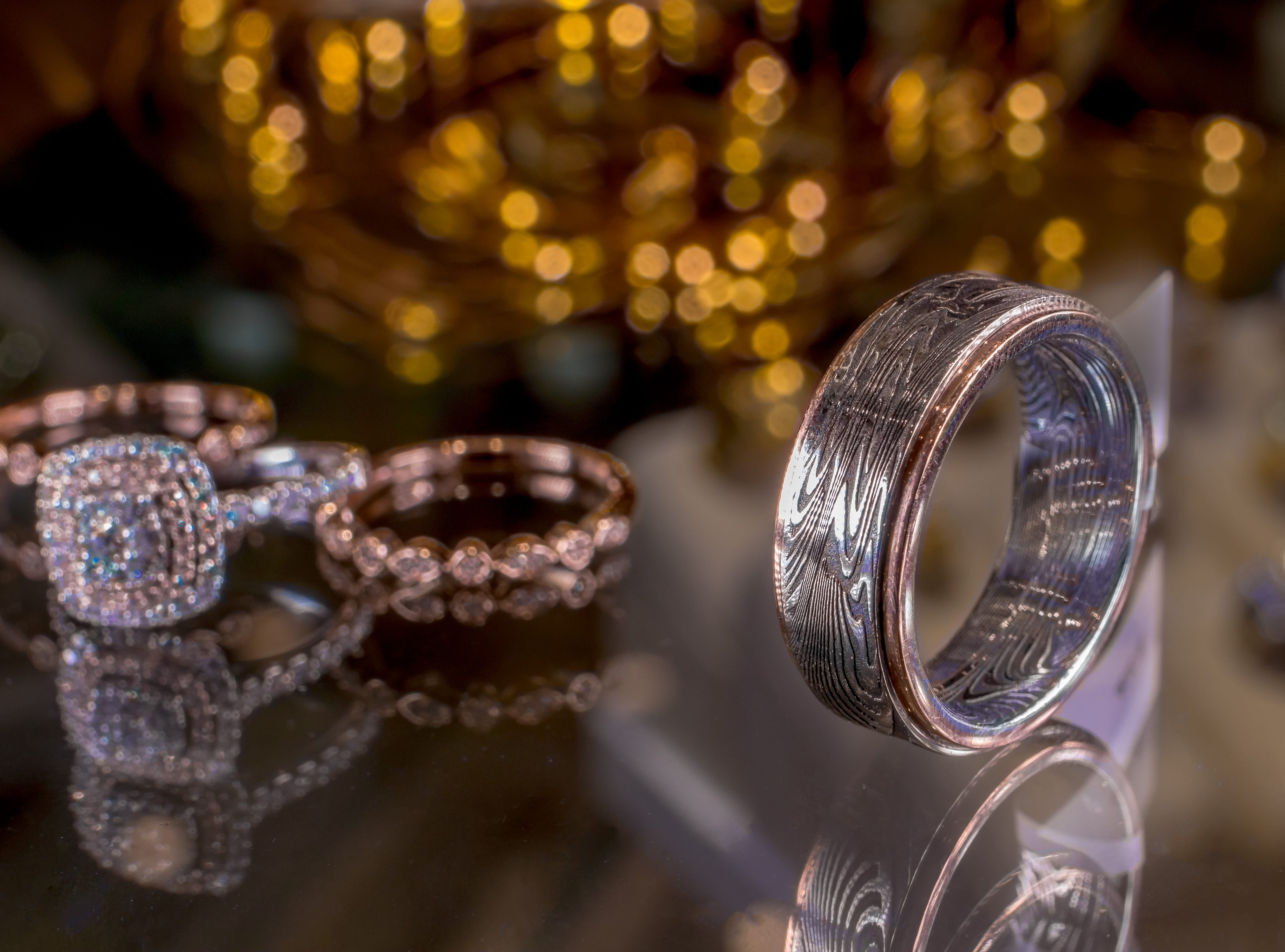 Luxury engagement and wedding ring set from Lin's Jewelry.