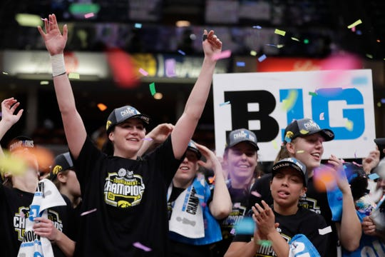 Iowa forward Megan Gustafson (10) celebrates following an NCAA college basketball championship game at the Big Ten Conference tournament against the Maryland in Indianapolis, Sunday, March 10, 2019. Iowa defeated Maryland 90-76.