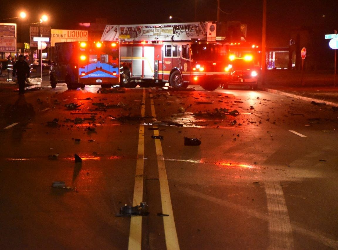 The fire truck was on its way to help a person with difficulty breathing when it was struck by an on-coming Chrysler 300 near East 38th Street and Butler Avenue about 11:40 p.m.