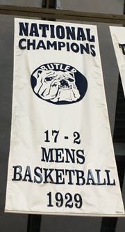 Butler's 1929 national championship banner hanging in Hinkle Fieldhouse.