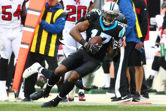 Dec 23, 2018; Charlotte, NC, USA; Carolina Panthers wide receiver Devin Funchess (17) catches a pass in the fourth quarter against the Atlanta Falcons at Bank of America Stadium.