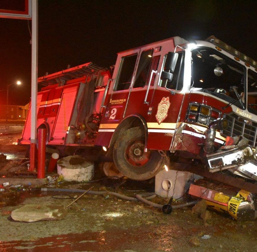 Indianapolis fire truck destroyed in crash; car's driver accused of OWI
