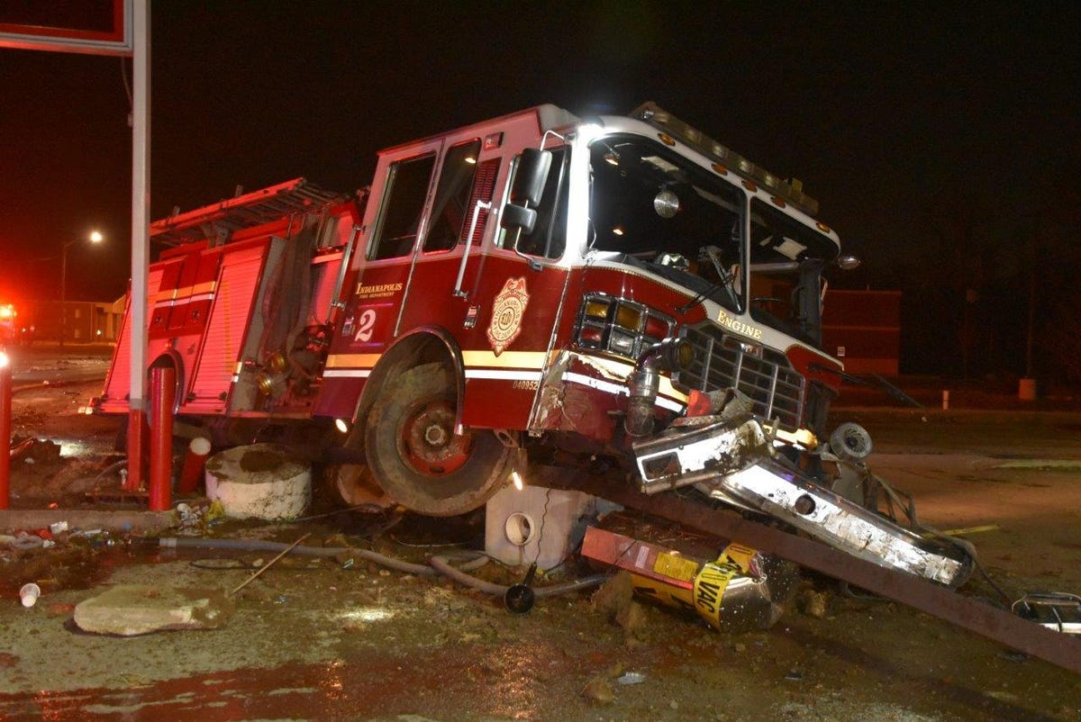 Raw video: IFD fire truck after head-on collection